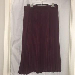 Lane Bryant Burgundy Pleated Skirt